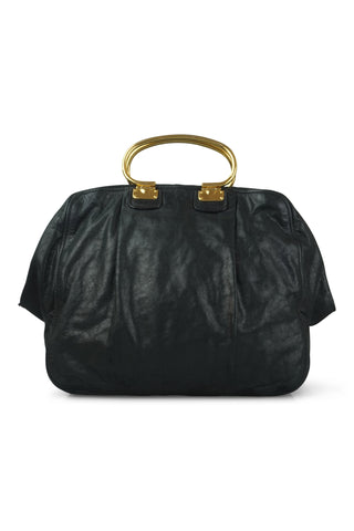 Aged leather handbag
