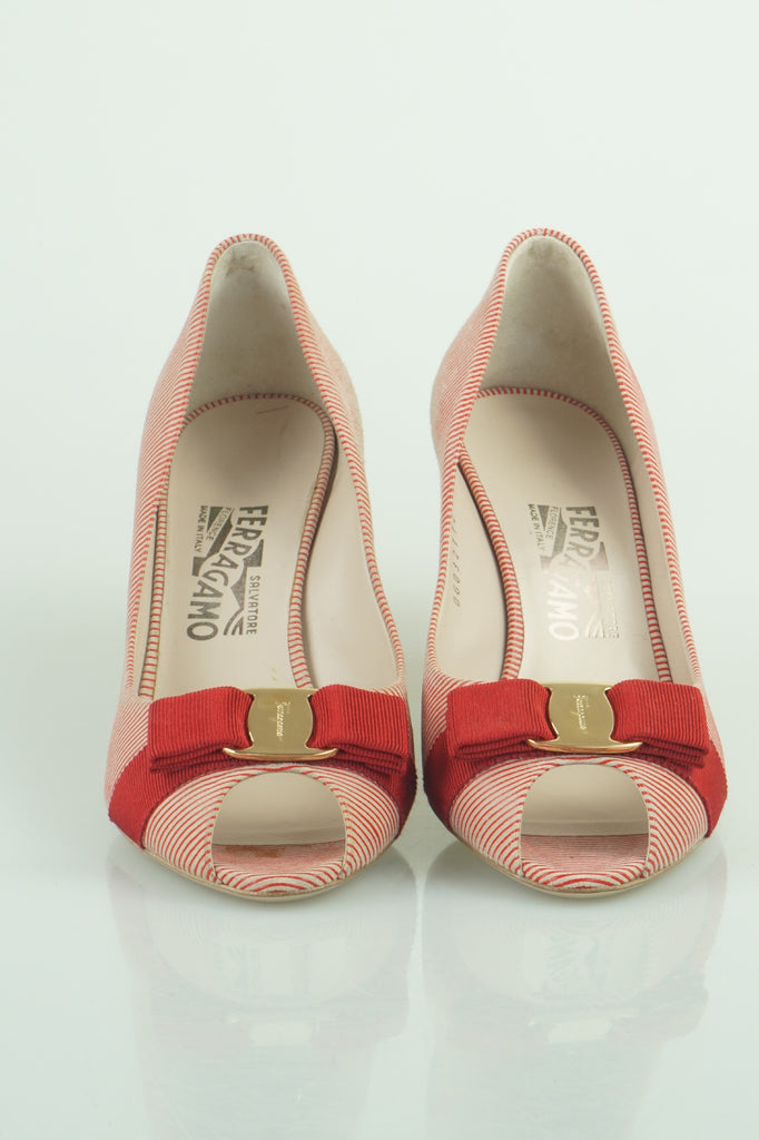 Salvatore Ferragamo Ribes red and white pumps