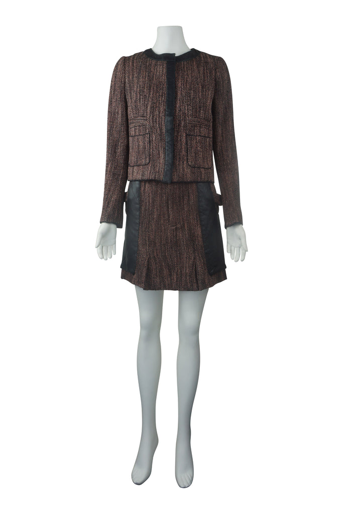 Arthur Galan Leather pocket tweed skirt