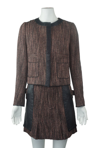 Leather trim tweed jacket