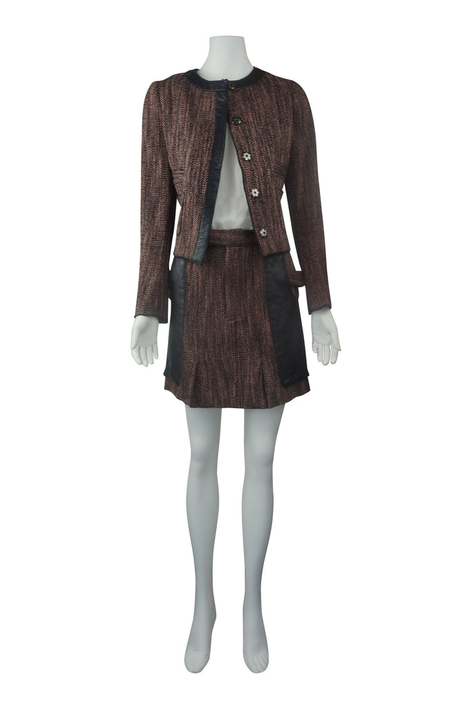 Arthur Galan Leather trim tweed jacket