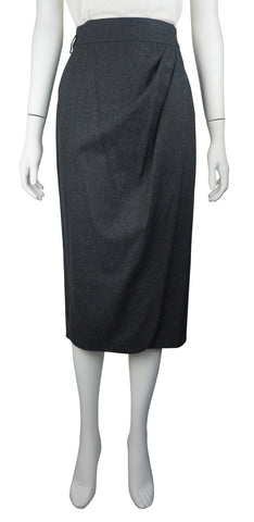 Grey cashmere wrap skirt