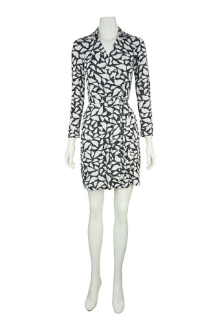 Collar print silk wrap dress