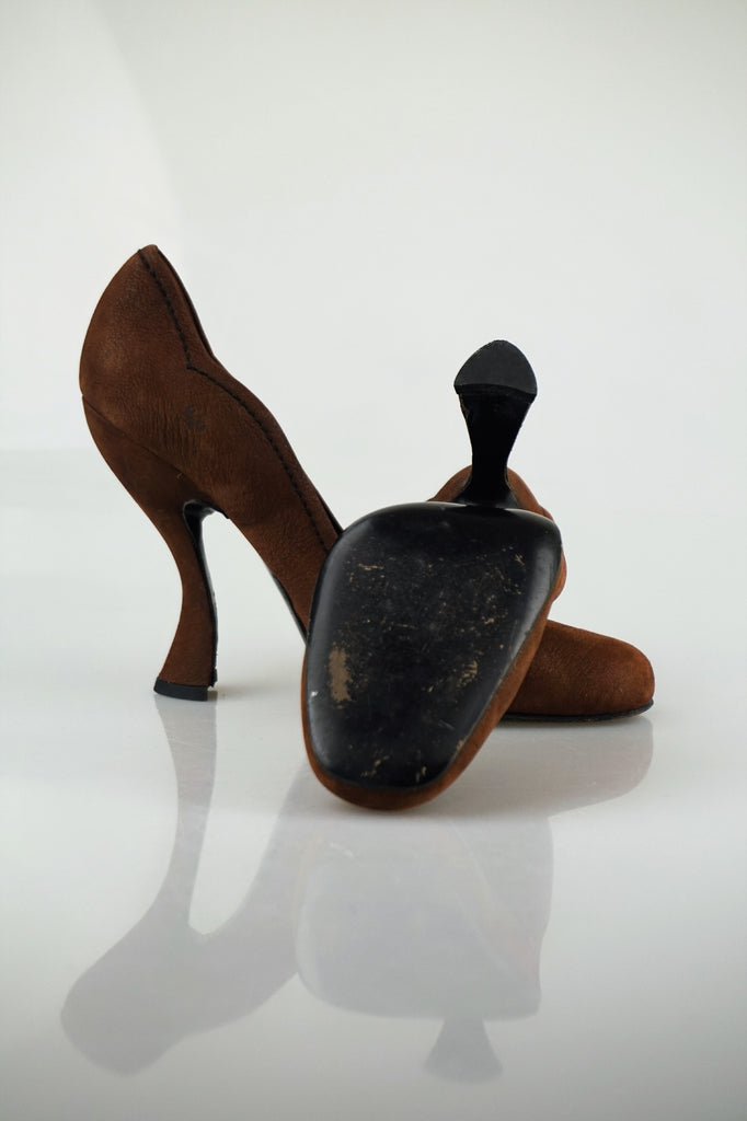 Prada Mahogany curved pumps