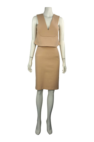 Camel cut away dress