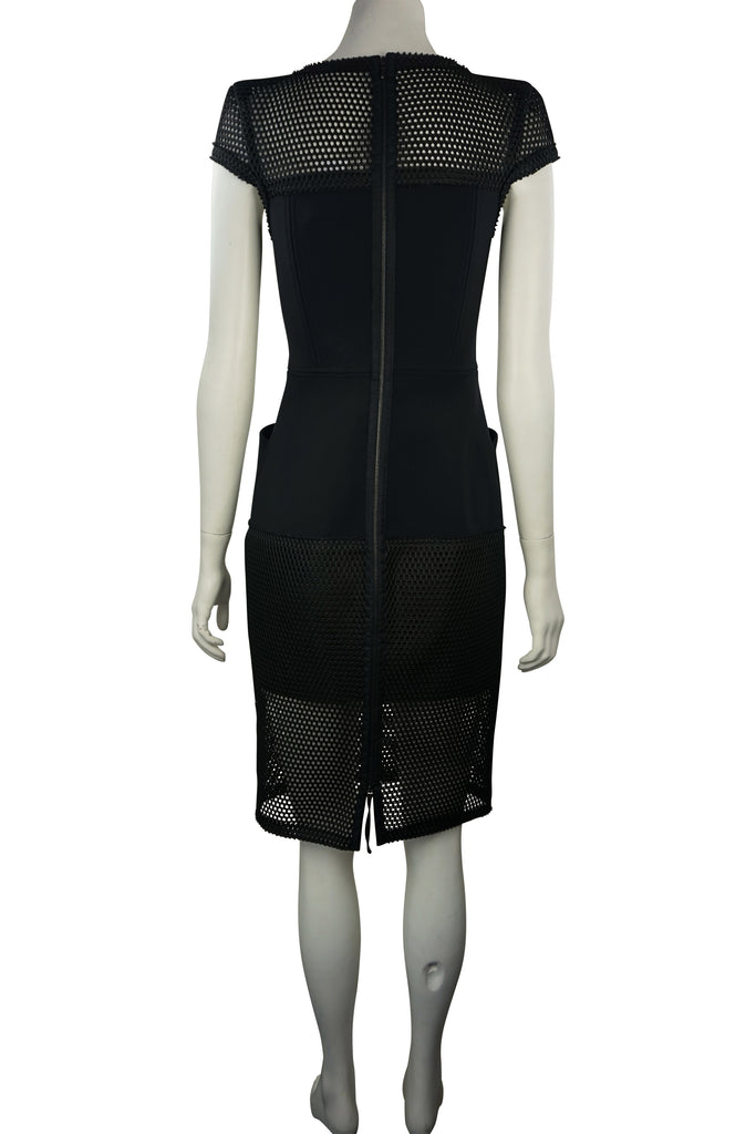 Scanlan & Theodore Black mesh sheath dress