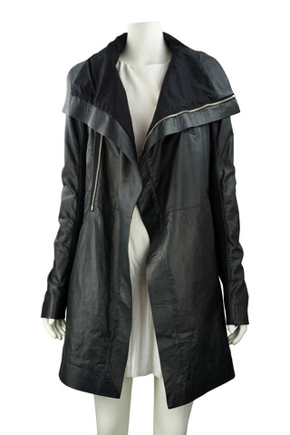 Black leather zip coat