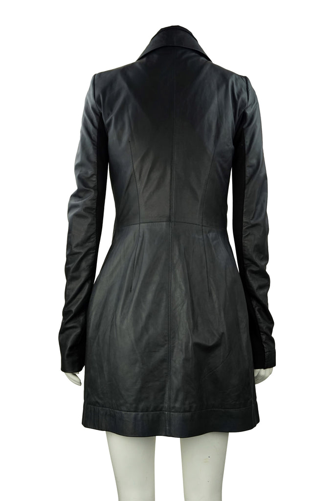 Rick Owens Black leather zip coat