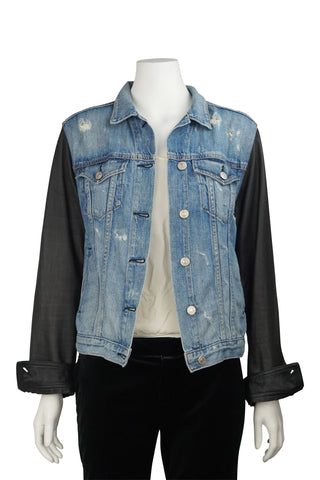 Tattered leather sleeve jacket