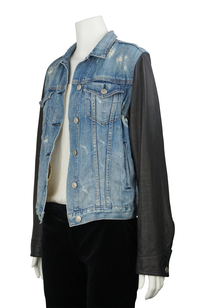 Rag & Bone Tattered leather sleeve jacket