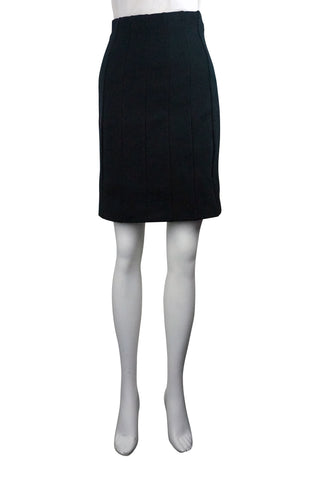 Straight black panelled skirt