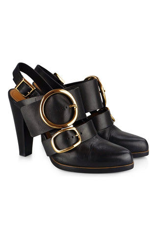 Round buckles mules