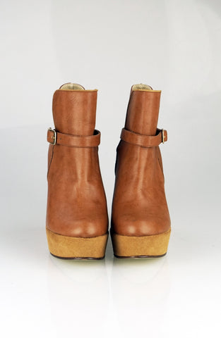 Tan wedges ankle boots