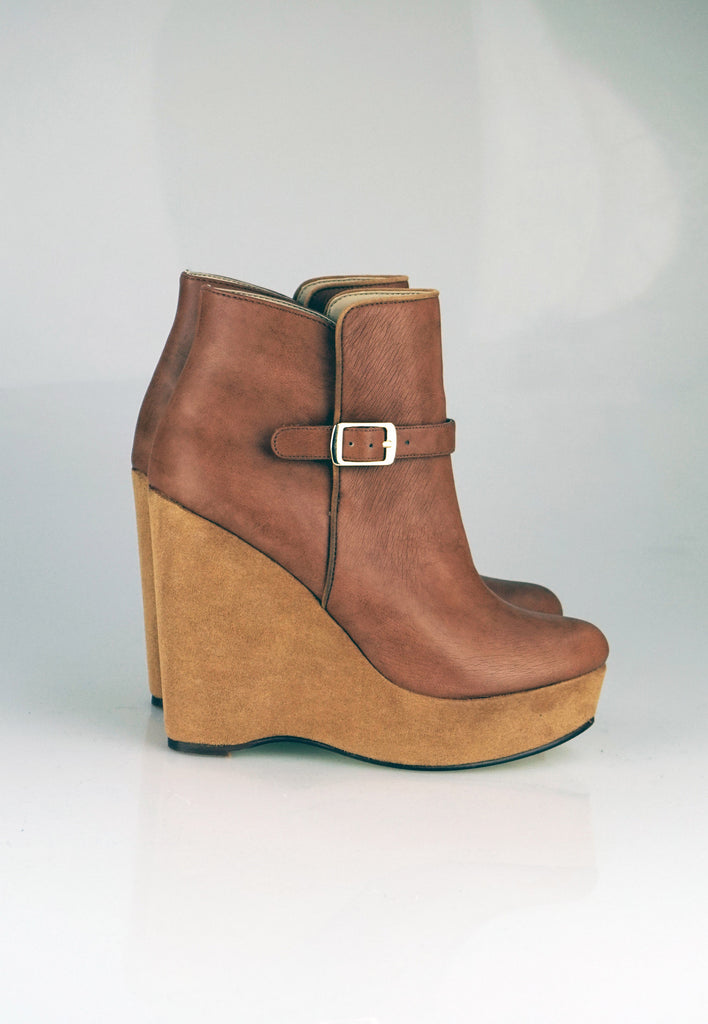 Stella McCartney tan wedges ankle boots