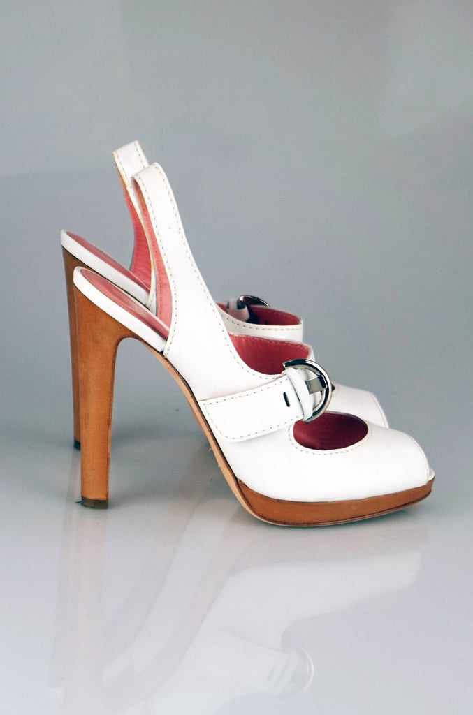 Sergio Rossi white peep toe straped sandals
