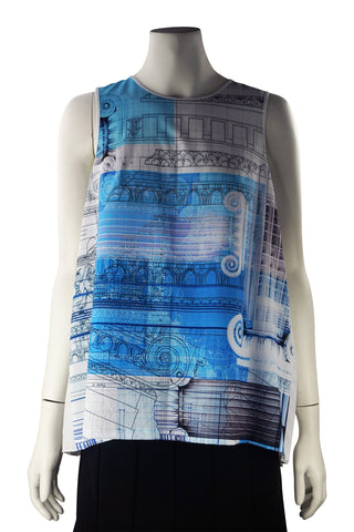 Architectural print with pleated top