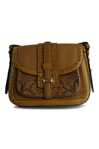 Triple tan leather crossbody bag