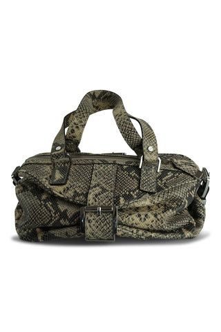 Beige snake-print shoulder bag