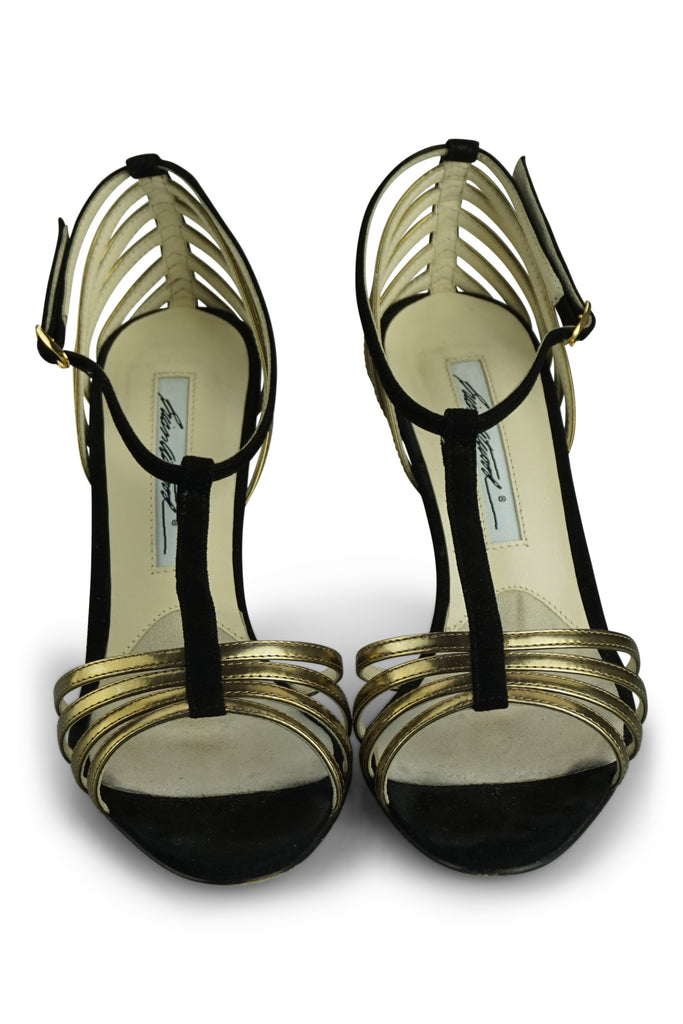 Brian Atwood Gold and Black Sandals