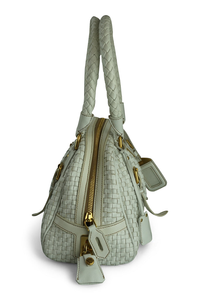Prada Madras White Leather Handbag