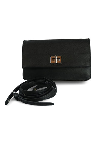 Black saffiano wallet shoulder bag