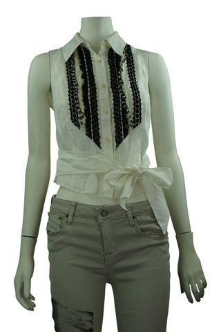 Studio black & white embroided linen wrap top