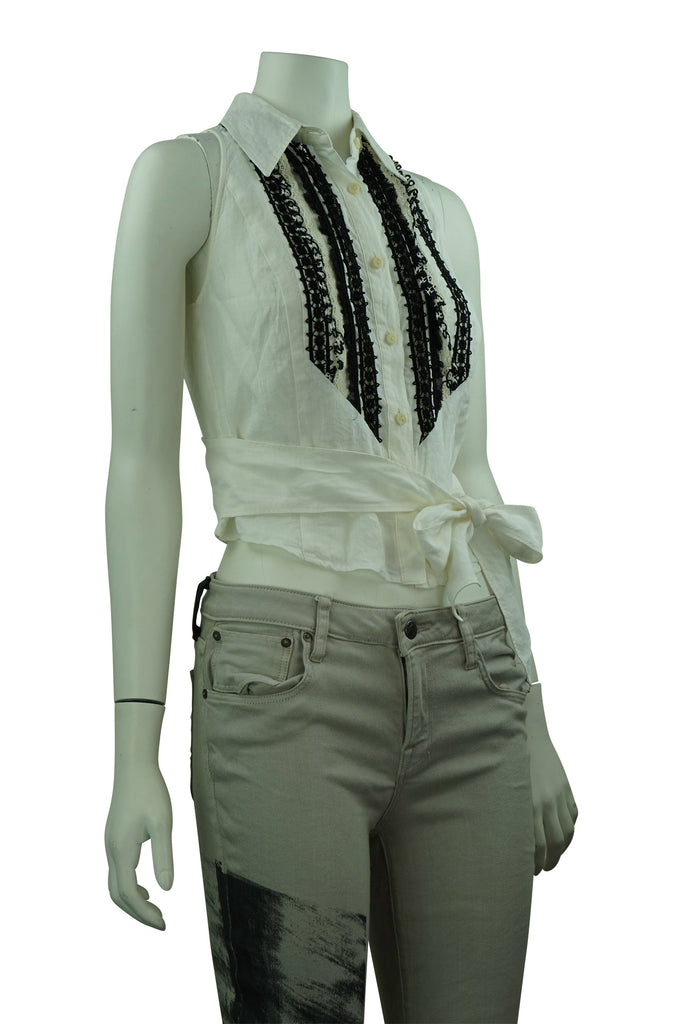 Max Mara Studio Black & White Embroided Linen Wrap Top