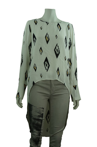 Long sleeve ivory print top
