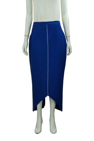 Electric blue long knit skirt