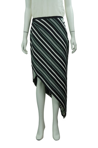 Black, green & white asymetric skirt