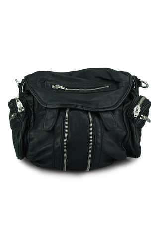Mini-marti black leather backpack