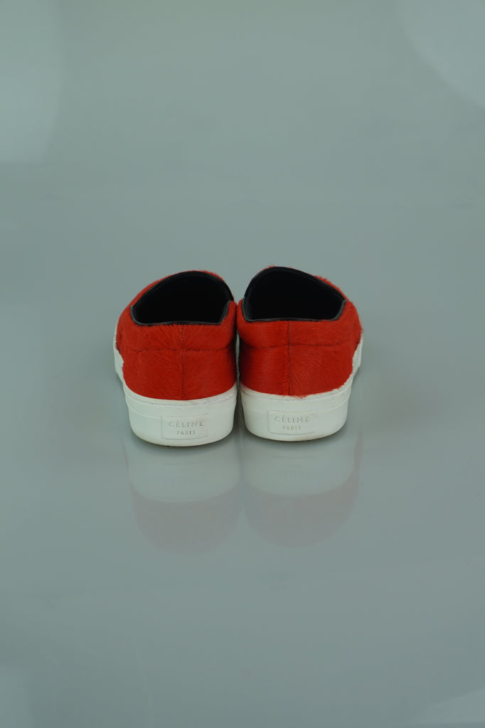 Celine Coral Pony Hair Flat Slippers