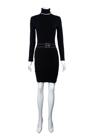 Turtleneck black knit dress