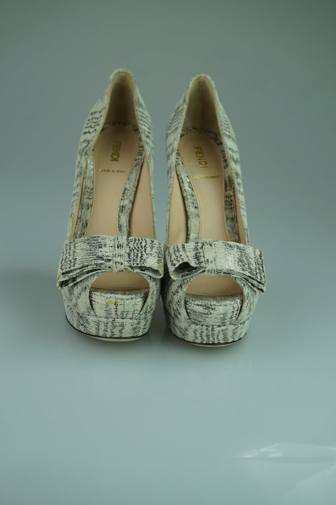 Fendi Beige Canvas Platform Peep Toes with Bow