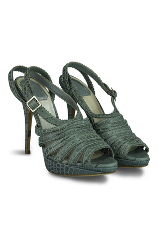 0834eaa8873 Dior gray grey embossed leather bonnie platform sandals