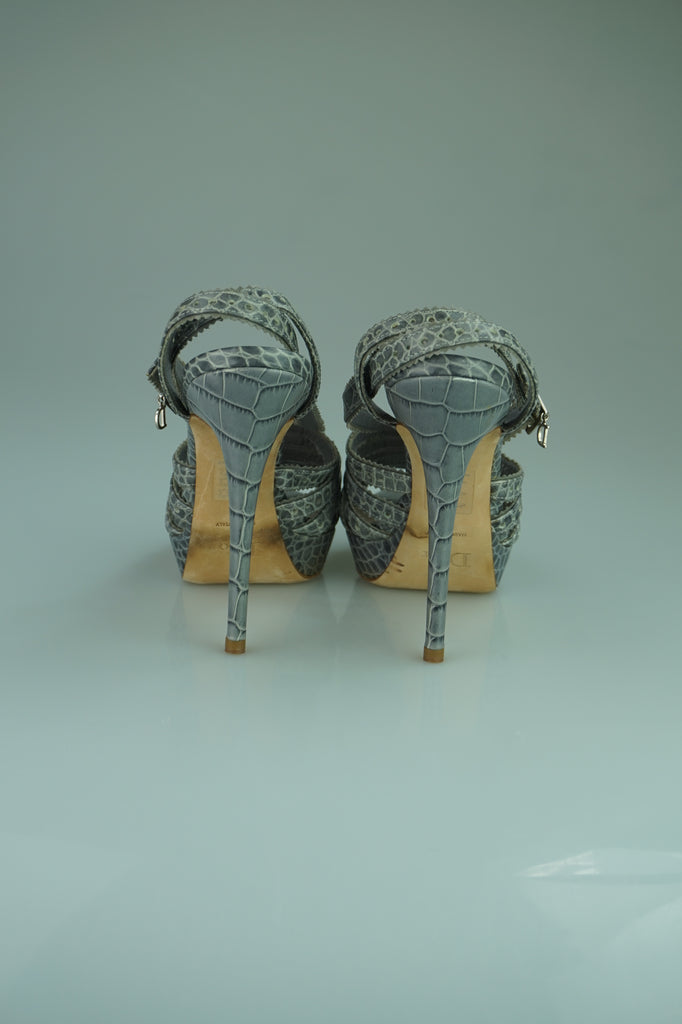 Dior Gray Grey Embossed Leather Bonnie Platform Sandals