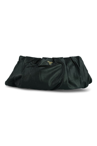 Black pleated soft lambskin clutch