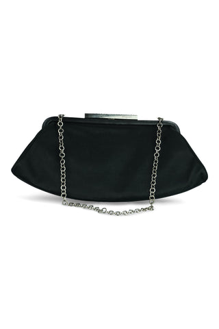 Black satin clutch on chain