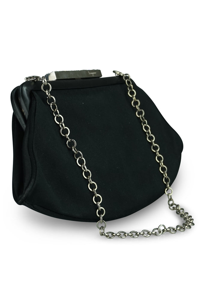 Salvatore Ferragamo Black Satin Clutch on Chain