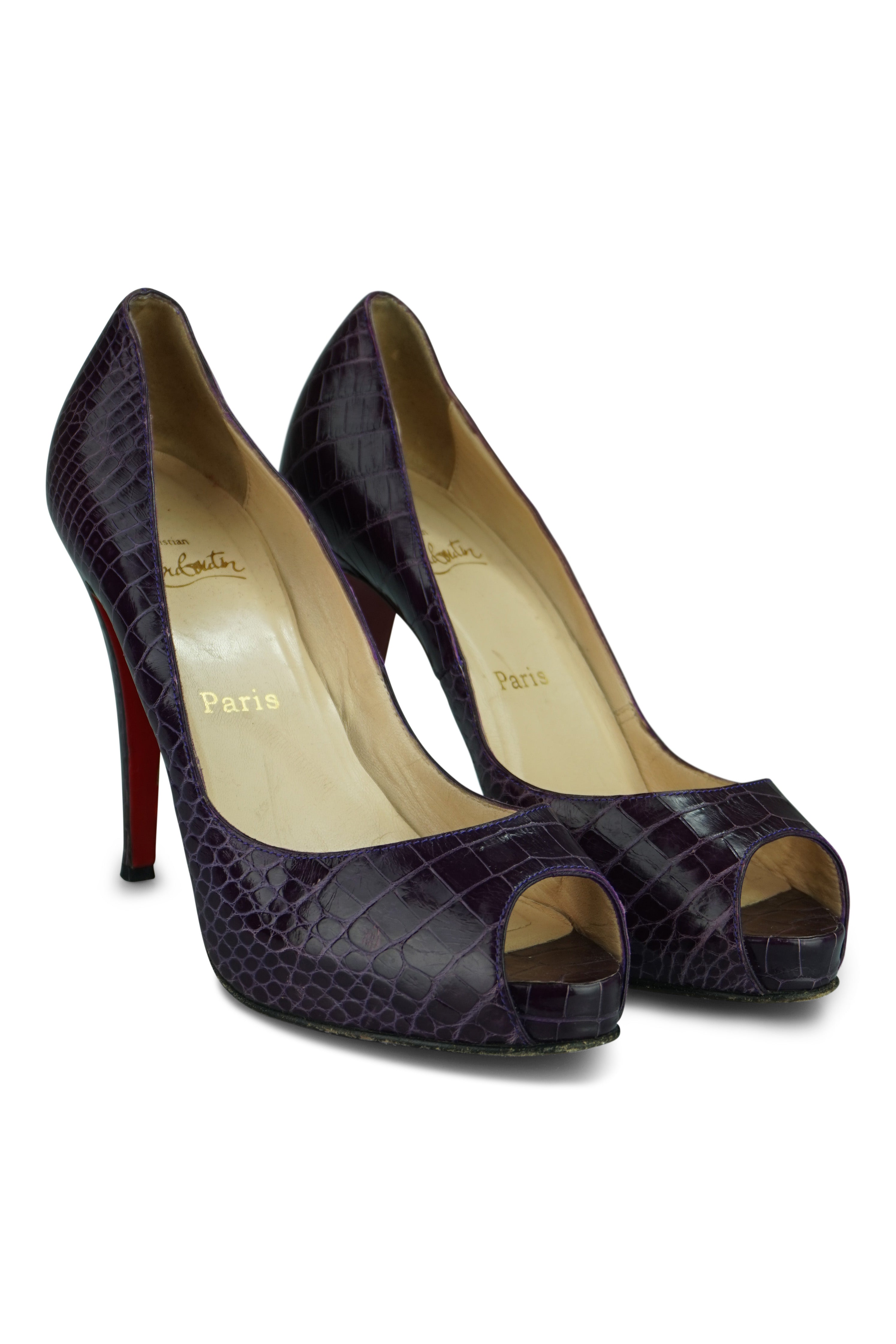 Christian Louboutin Alligator Peep-Toe Pumps