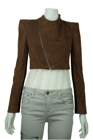 Bcbg maxazria toffee brown faux suede cropped jacket