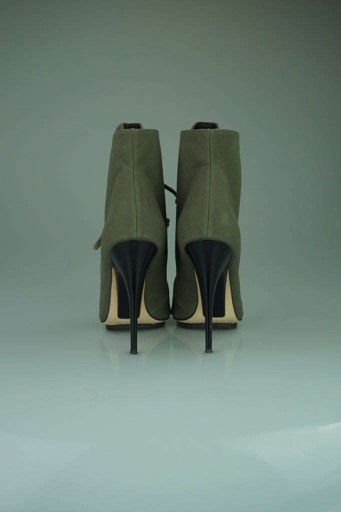 Zanotti Khaki Khaki Canvas Lace-Up Peep-Toe Ankle Boots