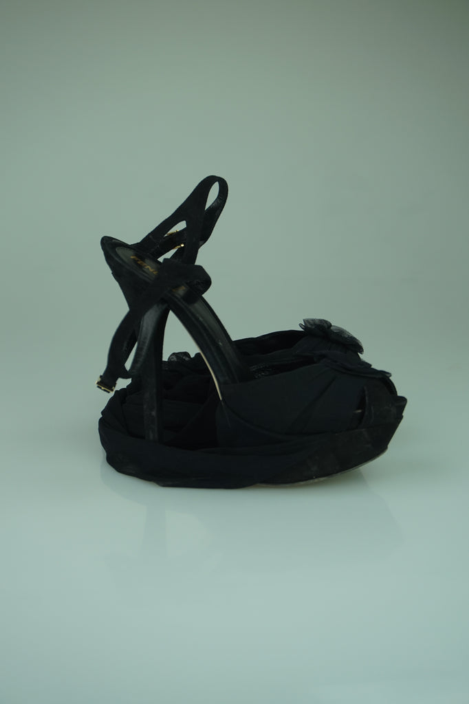 Fendi Tied-Up Black Platform Heels