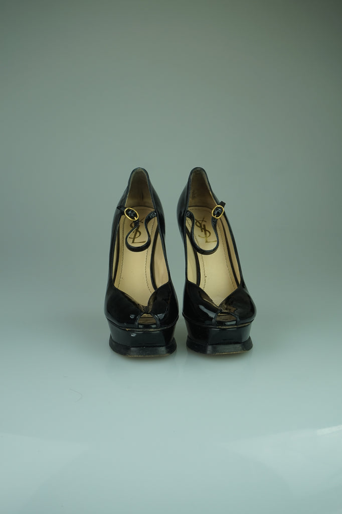Yves Saint-Laurent Tribute patent-leather Mary Jane pumps