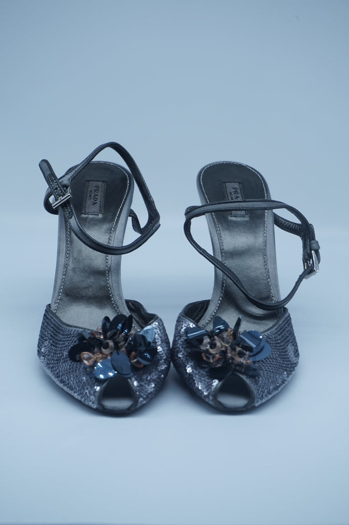 Prada Grey Sequin Sandals