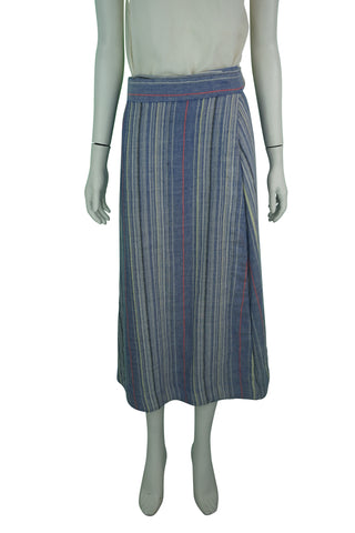 marisole striped wrap-around long skirt