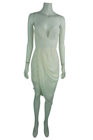 Silk strapless twist front dress ivory