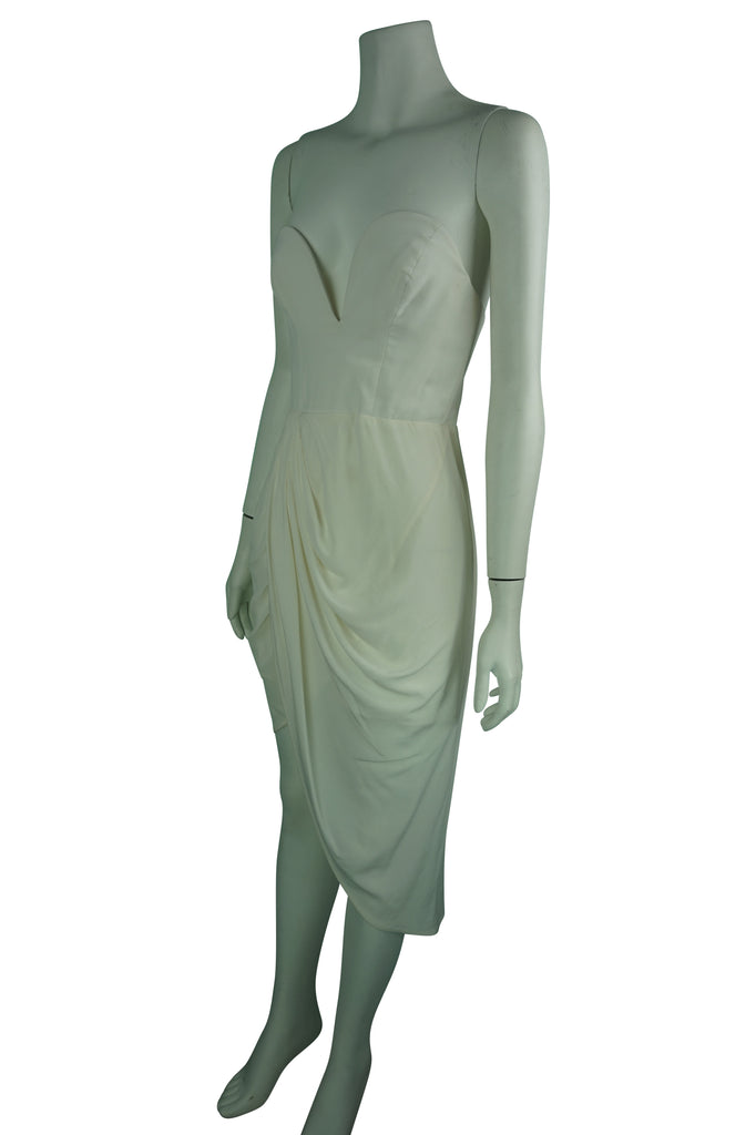 Zimmermann Silk Strapless Twist Front Dress ivory
