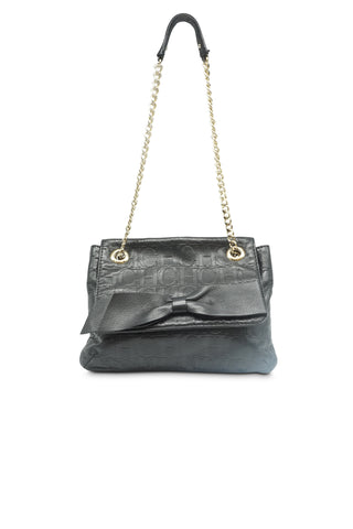 Black leather quilted flap bow bag