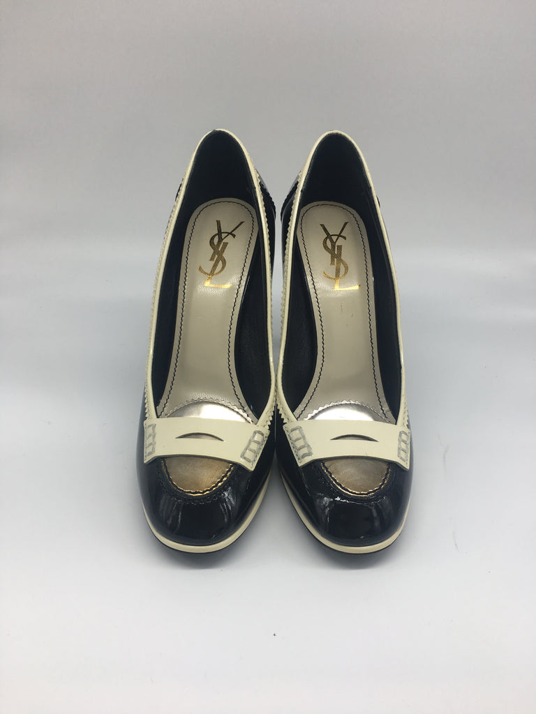 Saint Laurent Black & White Patent Preppy Pumps